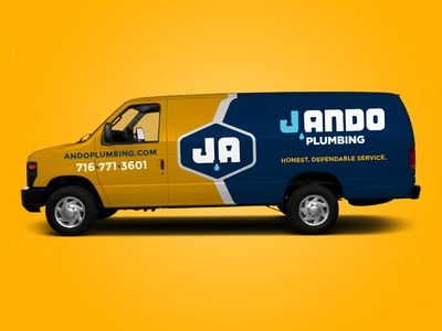 J Ando Plumbing Truck and Van Wrap design graphic design identity branding vehicle graphics van wrap typography truck wrap plumbing pipes logotype logo mark logo design identity logo branding design