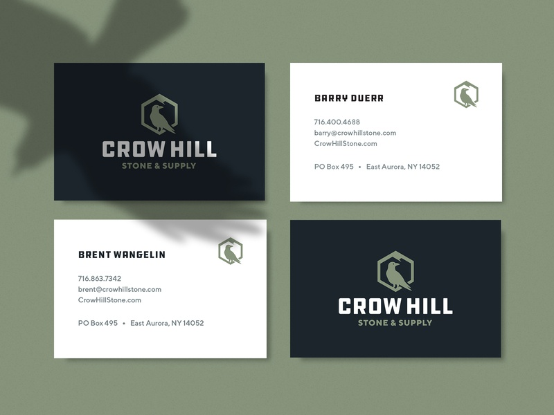Crow Hill Stone & Supply Business Cards stationery hexagon mountain hill crow landscaping business card business card design graphic design design typography logo mark logo design identity branding logo