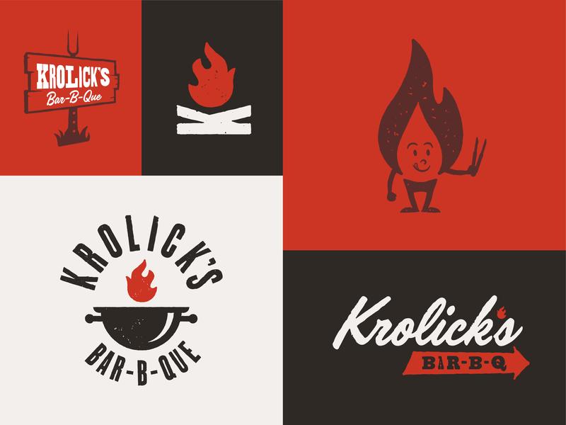 Krolick's Bar-B-Que Responsive Branding System script font woodtype vintage logotype icon bar-b-q badge bbq typography logo mark logo design illustration identity responsive branding branding logo