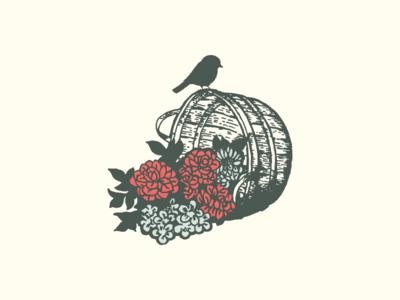 Bushel and a Peck Logomark bird flowers wedding planner wedding pen and ink logo mark logo design illustration identity branding logo