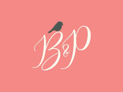 Bushel and a Peck Monogram event planner wedding invitations wedding logo design logo monogram ampersand bird script font typography identity illustration branding
