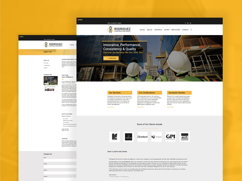 Rodriguez Construction Group Website web designer branding agency branding industrial construction company construction web developer ui designer ux designer ux ui website design web design