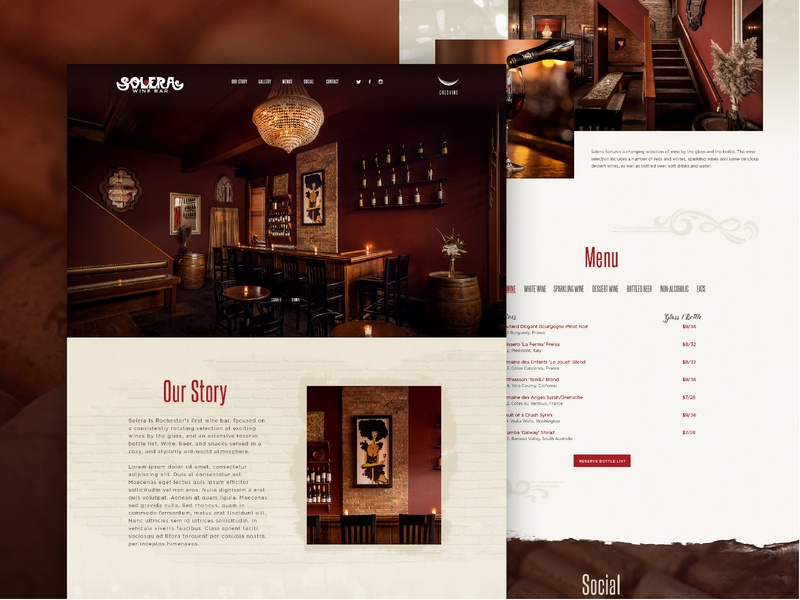 Solera Wine Bar Website website design typography graphic design bar design  wine website web design web ux ui landing page interface one page site photography textures fine art paris art nouveau user experience user interface