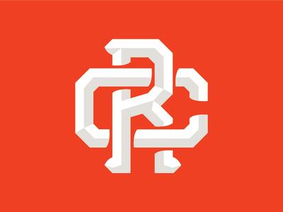 RC Monogram dimensional type rebranding design monogram logo mark logo design identity branding logo