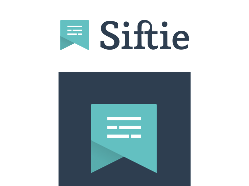 Siftie logo ligature icon flat bookmark typography bubble chat reading feed