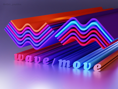 Day 2/30 - WAVE MOVE minimal identity typography clean photoshop logomark logotype logo illustration graphic design design branding brand blender 3d art