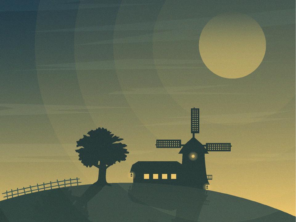 Nautical Dawn Windmill Landscape flat design nature silhouette dawn windmill editorial design design illustration vector adobe illustrator