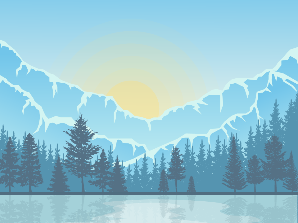 Mountain Sunrise editorial design trees sunrise mountain nature landscape flat design design illustration vector adobe illustrator