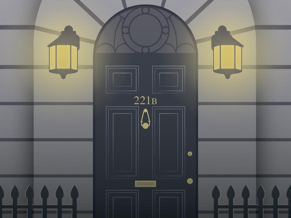 221b Baker St. lamp door 221b baker street sherlock flat design design illustration vector adobe illustrator