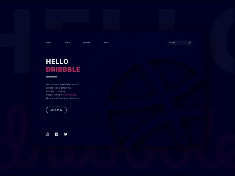 Hello  Dribbble! art website minimal debut shot debutshot debut hellodribbble hello dribble app web ux ui design