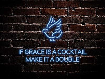 The Bar Chaplain: messaging illustration branding cocktail chaplain bar blue grace dove neon brand