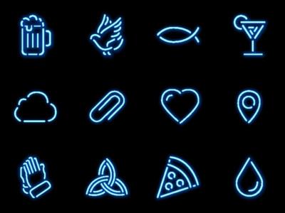 Neon icon set clip hands drop cloud heart pizza martini fish dove beer icon neon