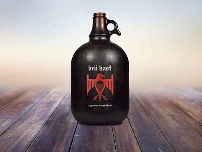 Brü Hast growler brandmark logotype branding eagle hops logo beer growler