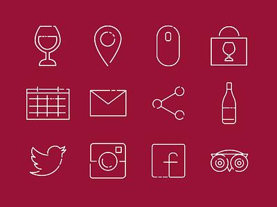 custom icon set tripadvisor facebook twitter mail location calendar wine icon