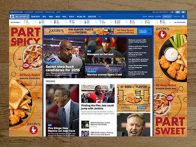 CBS Sports banner takeover college basketball logo mark marchmadness zaxbys