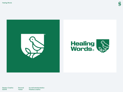 Healing Words bird logo bird identity branding identity design identity logotype logo vector logos brand identity flat design brand design branding