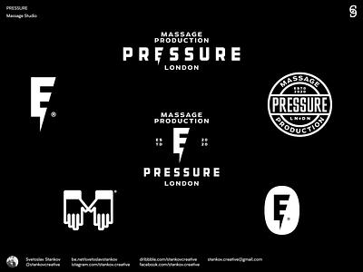 Pressure London logodesigner logomaker logomark brand design branding london massage pressure logos logodesign logotype logo