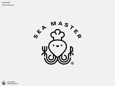 Sea Master Logo restaurant branding restaurant foodlogo octopus logo octopus food logos flat logotype brand identity icon logo flat illustration brand design illustration branding