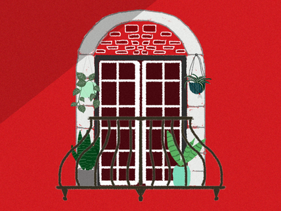 Hello dribbble hellodribbble dribbble red home wall firstshot graphicdesign balcony plants design illustration