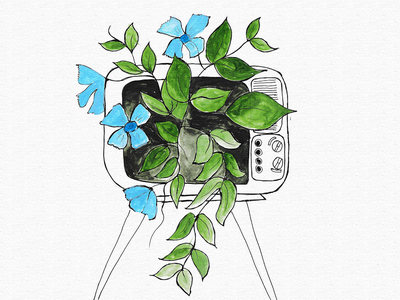 Dream Tv green plant tv drawingart drawing artworks design photoshop paper visual art digitalart behance graphicdesign artwork illustration dribbble