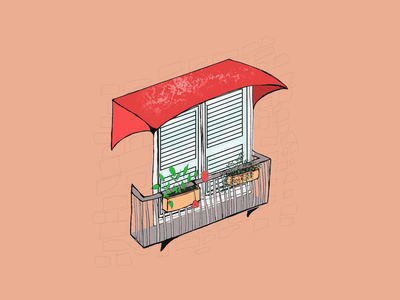 Balcony sunny photoshop plants balcony visual art illustration art home digitalart behance graphicdesign artwork illustration dribbble