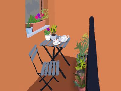 Balcony summer coffee plant photoshop illustration art design home digitalart behance graphicdesign artwork illustration dribbble