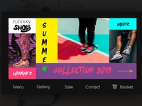 Home page for shoe store