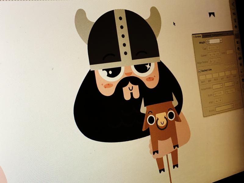 Pre felting viking felt illustrator character design