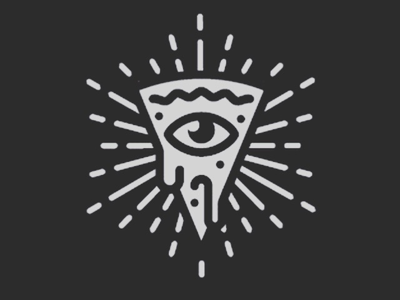 Conspiracy pizza identity proposal restaurant branding logo all seeing eye identity pizza