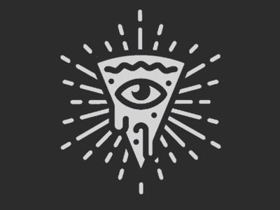 Conspiracy pizza identity proposal restaurant branding logo all seeing eye identity pizza