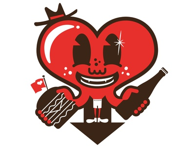 Burger Beer Love heart illustration love beer burger