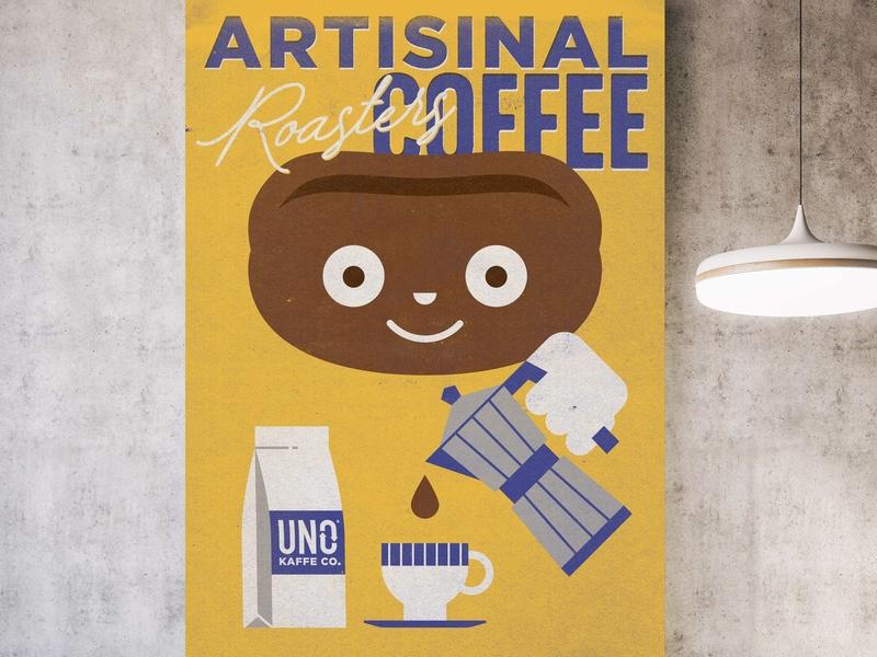 coffee poster fun illustration mockup poster coffee
