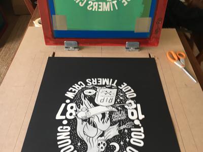A bit of printing going on. skateboarding screen printing