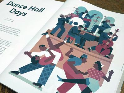 Swing jazz character vector dancehall jive vintage goodwood editorial illustration swing dance