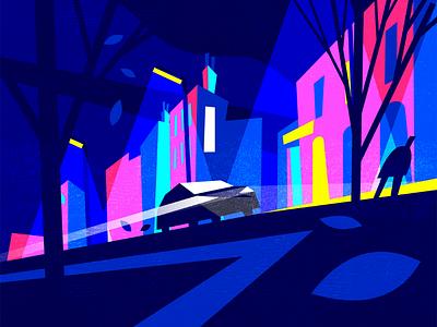 Night drive illustration vector styleframe
