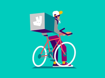 Rider deliveroo character illustration vector