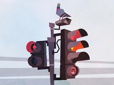 Traffic lights vector art vector artwork cctv pigeon art low poly urban concept art london city illustration vector