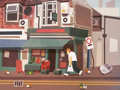 Corner Shop styleframes style frame styleframe lowpoly urban low poly concept art london city character illustration vector