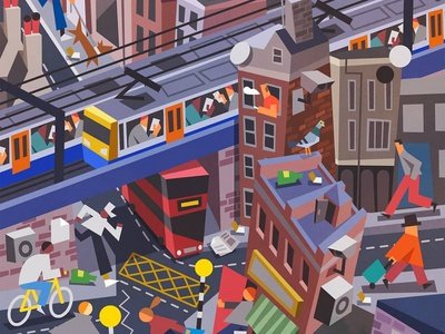 London styleframes style frame styleframe lowpoly urban low poly concept art london city character illustration vector