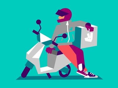 Rider styleframes style frame styleframe lowpoly urban low poly concept art city london character illustration vector moped