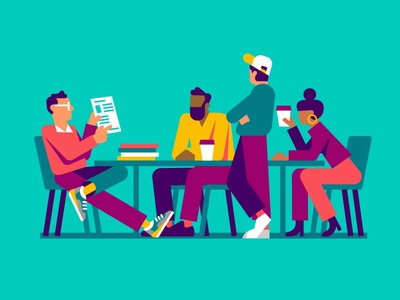 Meeting colleagues office meeting style frame styleframe low poly concept art character illustration vector