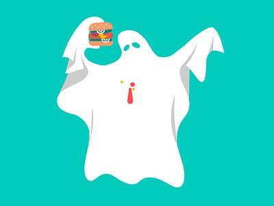 Ghost spooky food burger ghost halloween design halloween