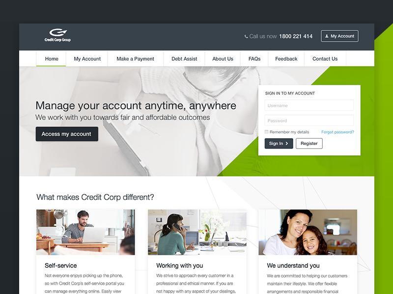 Homepage Design website panels login masthead homepage diagonal