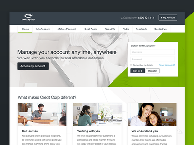 Homepage Design website panels login masthead homepage diagonal