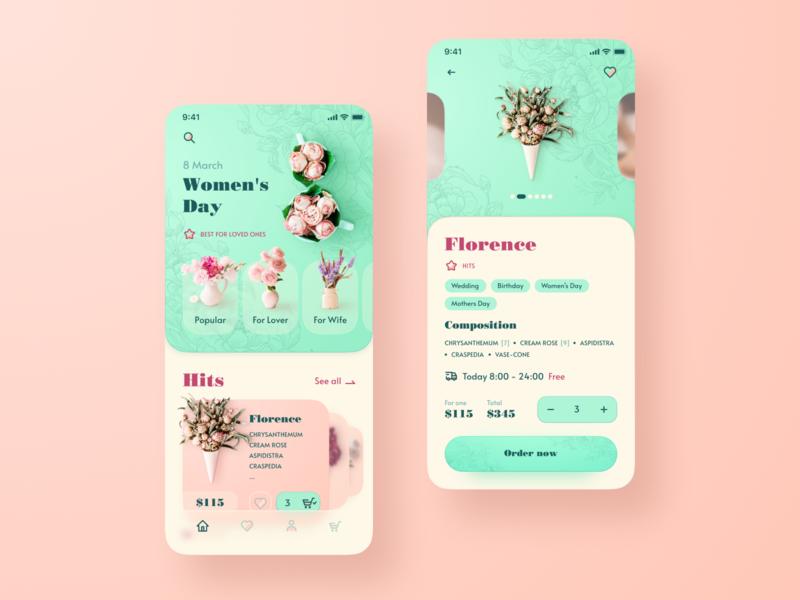 Flowers store app figma ux ui flowers woman beautiful online shop store flower uiux app