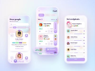 Gifter app - part 2 digital gift glassmorphism e-commerce app application design uiux app ux ui figma