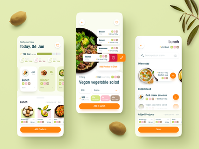 Calorie counting app delicious weight loss slimming vegetables cooking eat orange vegan green application calorie counting calories food digital design uiux app figma ux