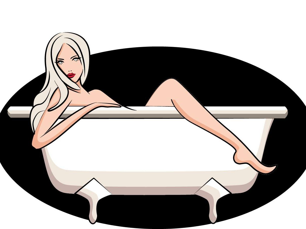 Woman in bath flat character illustration vector