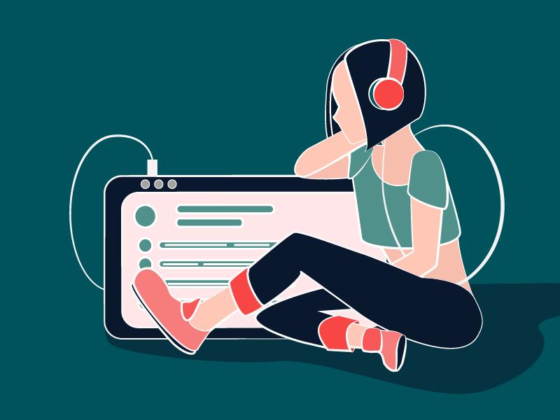 Music design icon vector flat character illustration