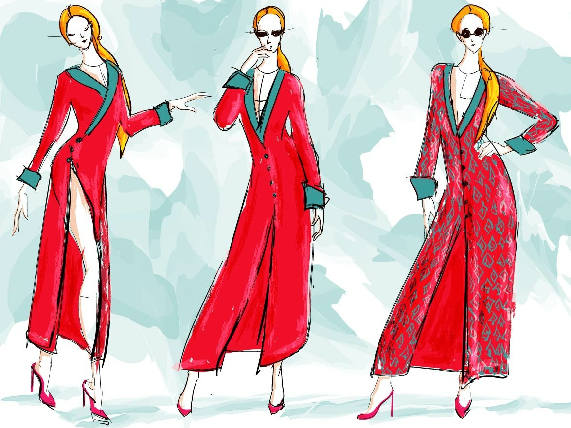 Fashion sketch dress fashion vector illustration